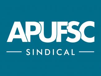 Arte gráfica com o logo da Apufsc. Fundo azul e letras em branco.