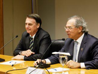 Ministro da Economia, Paulo Guedes, e o Presidente Bolsonaro.