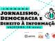 Arte gráfica de divulgação de evento sobre ética e jornalismo na UFSC.