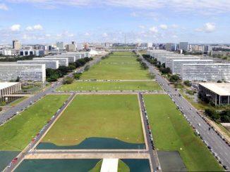 Imagem aérea dos ministérios, em Brasília