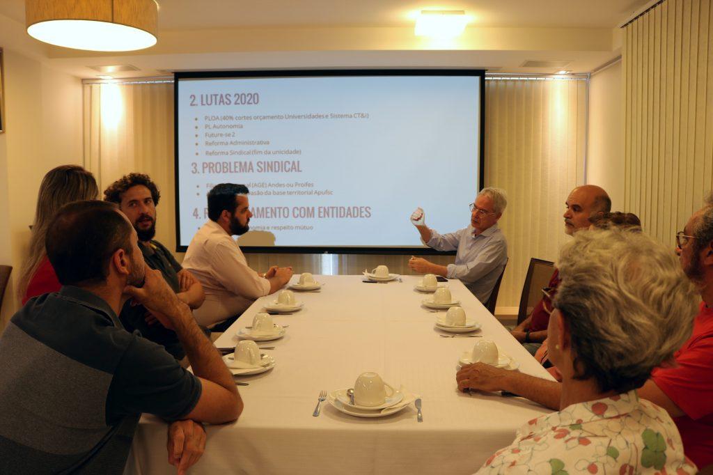 Apufsc se reúne com representantes da nova diretoria do Sintufsc.