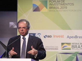 Ministro da Economia, Paulo Guedes, durante discurso no Fórum de Investimentos Brasil.