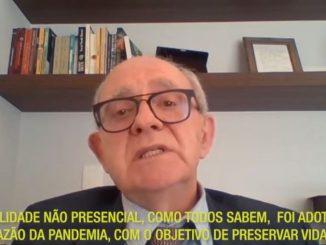 O reitor da UFSC, Ubaldo Cesar Balthazar, em mensagem gravada.
